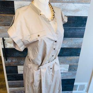 ⬇️$390 GERARD DAREL taupe modern shirt dress sz 10